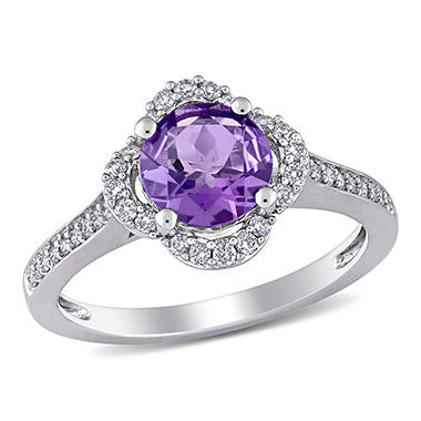 1.3 CT. Amethyst and 0.25 CT. T.W. Diamond Quatrefoil Halo Ring 14k White Gold