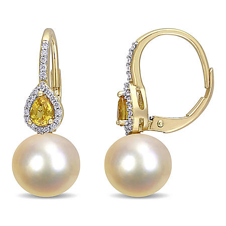 9-9.5 mm Golden Round Cultured Freshwater Pearl and 0.37 CT. T.G.W. Yellow Sapphire with 0.12 CT. T.W. Diamond Teardrop Earrings in 14K Yellow Gold