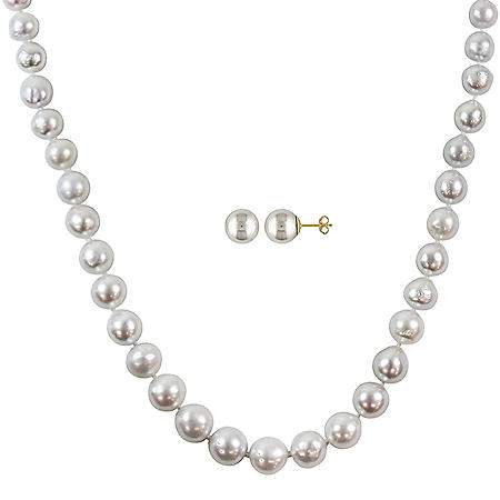Allura 9-11 mm White South Sea Pearl Strand Necklace and 9-10 mm Stud Earrings Set in 14k Yellow Gold