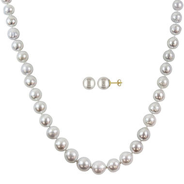9-11 mm White South Sea Pearl Strand Necklace and 9-10 mm Stud Earrings Set in 14k Yellow Gold