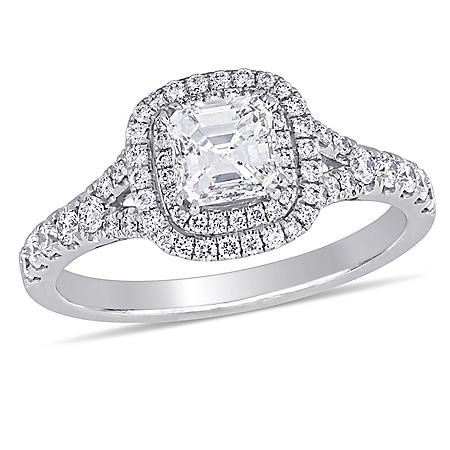 Allura 1.18 CT Asscher and Round-Cut Diamonds Double Halo Engagement Ring in 14k White Gold