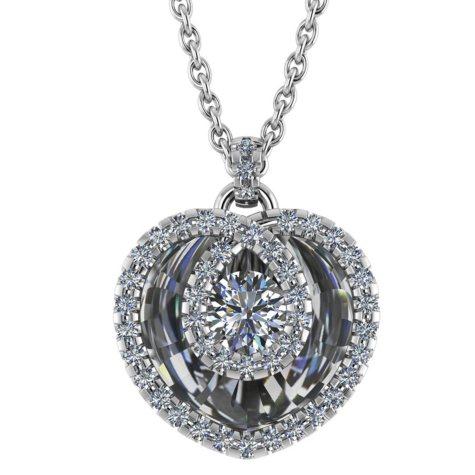 0.50 CT. T.W. Round-Cut Halo Heart Diamond Pendant in 14K Gold (I, I1)