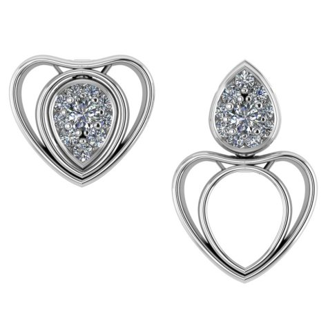 0.25 CT. T.W. Round-Cut Echo Heart and Pear Changeable Diamond Earrings in 14K Gold (I, I1)