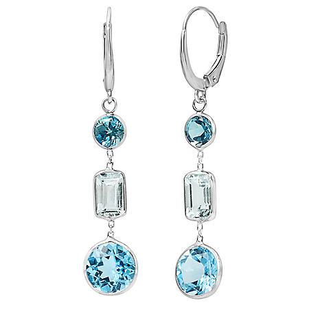 7.25 Carat Swiss Blue Topaz and Aquamarine Dangle Earrings in 14 Karat White Gold