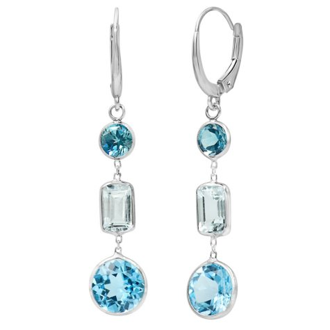 7.25 Carat Swiss Blue Topaz and Aquamarine Dangle Earrings in 14 Karat White Gold