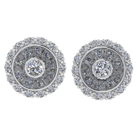 0.45 CT. T.W. Round-Cut Hidden-Halo Diamond Earrings in 14K Gold (I, I1)