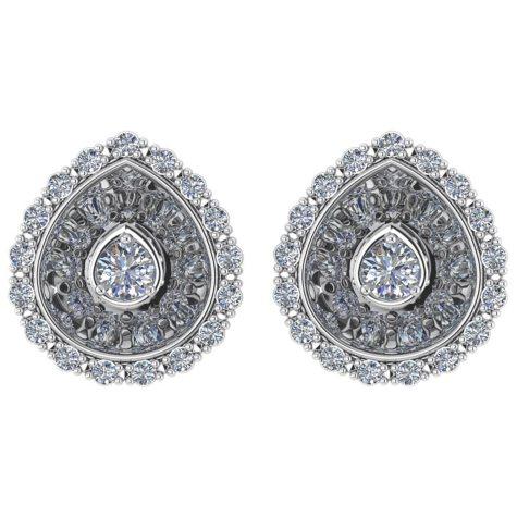 0.50 CT. T.W. Round-Cut Hidden-Halo Diamond Earrings 14K Gold (I, I1)