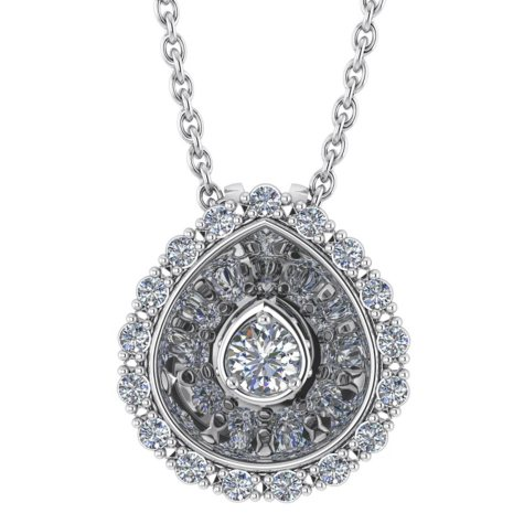 0.25 CT. T.W. Round-Cut Hidden-Halo Diamond Pendant in 14K Gold (I, I1)