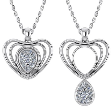 0.12 CT. T.W. Round-Cut Echo-Heart Changeable Diamond Pendant in 14K Gold (I, I1)