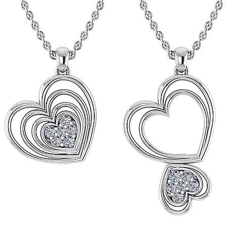 0.14 CT. T.W. Round-Cut Echo Heart Changeable Diamond Pendant in 14K Gold (I, I1)