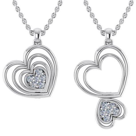 0.14 CT. T.W. Round-Cut Echo Heart Changeable Diamond Pendant in 14K Gold (I, I1)