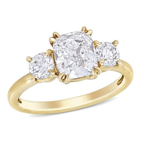 Allura 2.61 CT Cushion and Round-Cut Diamond Three Stone Engagement Ring in 14k Yellow Gold