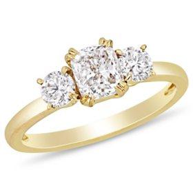 Allura 1.5 CT Cushion and Round-Cut Diamond Three Stone Engagement Ring in 14k Yellow Gold