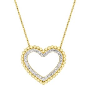 0.50 CT. Diamond Double Heart Pendant in 14K Yellow Gold