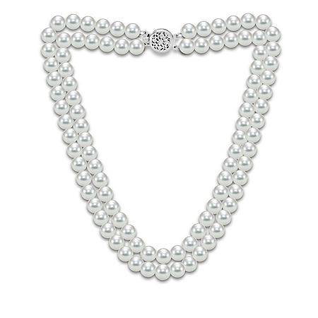"""2-Row Akoya Pearl 18"""" Necklace in 14K Gold"""