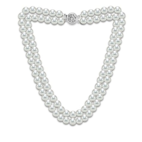 "2-Row Akoya Pearl 18"" Necklace in 14K Gold"