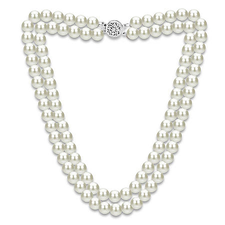 """2-Row Freshwater Pearl 18"""" Necklace in 14K Gold"""