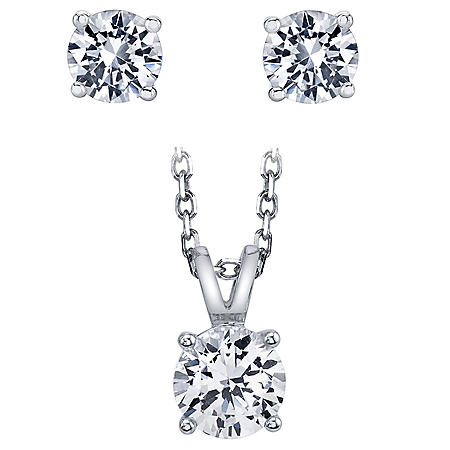 Created White Sapphire Pendant Necklace and Earring Set in Sterling Silver