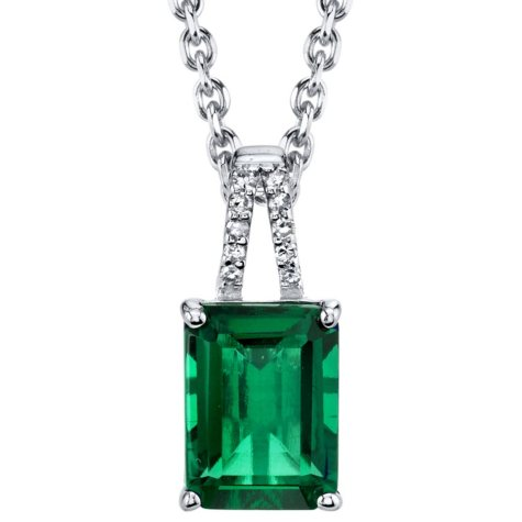 Lab Emerald with Diamond Accent Pendant Necklace in Sterling Silver