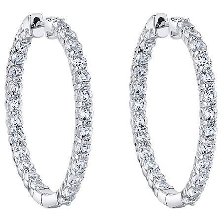 White Topaz Hoop Earrings in Sterling Silver