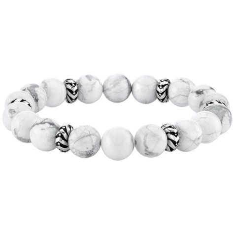 Spartan Sterling Silver and White Howlite Gents Bead Bracelet