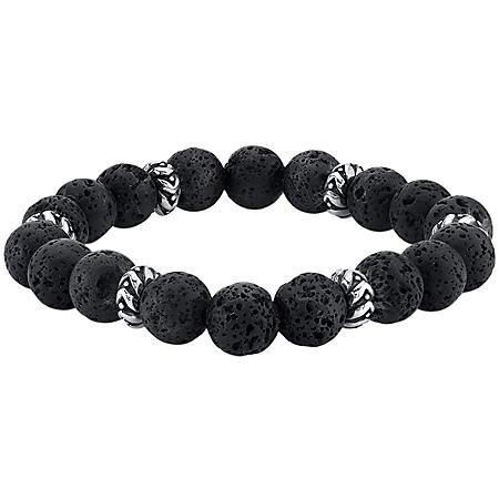 Spartan Sterling Silver and Black Lava Gents Bead Bracelet