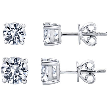 Created White Sapphire And Stud Boxed Earring Set In 14k Gold
