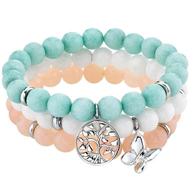 925 Sterling Silver Dyed Jade Bead Bracelet Set with Charms
