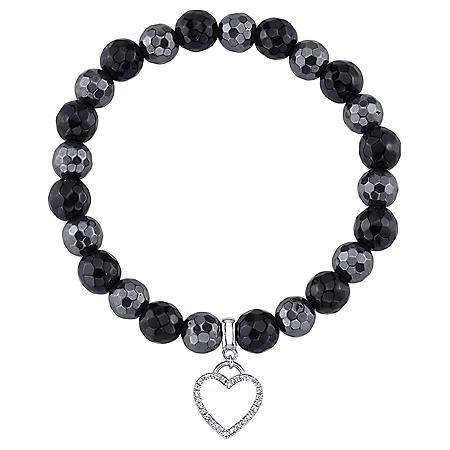 Black Agate and Hematine Stretch Bead Bracelet with 925 Sterling silver Charm