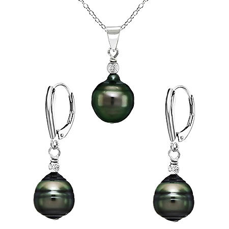 8-10mm Tahitian South Sea Baroque Pearl Pyramid-Cut Beads Pendant & Leverback Earrings Set in Rhodium Plated Sterling Silver