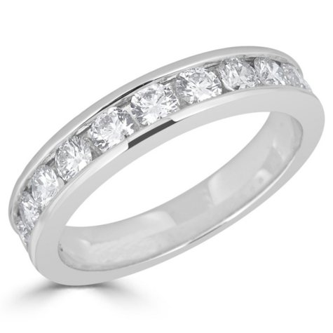 1.00 CT. T.W. 12-Stone Round Diamond Channel-Set Band Ring in 14K Gold (H-I, I1)