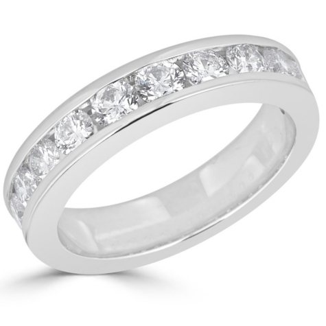 1.50 CT. T.W. 12-Stone Round Diamond Channel-Set Band Ring in 14K Gold (H-I, I1)