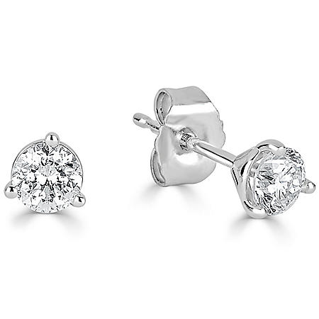 1.25 CT. T.W. Diamond 3 Prong Martini Stud Earring in 14K White Gold