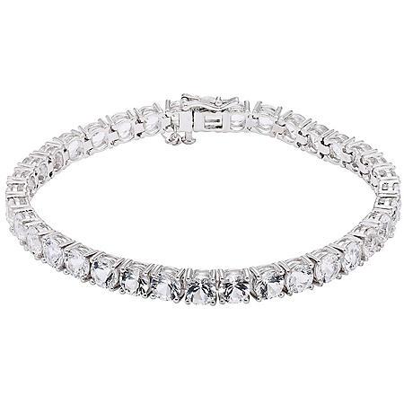 20 CT. T.W. Genuine White Topaz Sterling Silver Bracelet