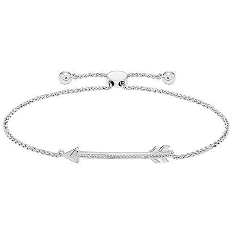 0.08 CT. T.W. Sterling Silver Diamond Arrow Bolo Bracelet