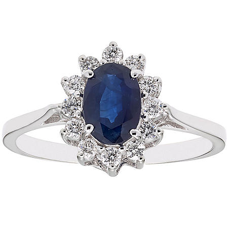 1.0 CT. T.W.  Blue Sapphire and 0.23 CT. T.W. Diamond Ring in 14K Gold