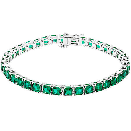 11 CT. Sterling Silver Lab Emerald Bracelet