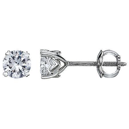 1.00 CT. T.W. Heart Prongs Round Diamond Stud Earrings in 14K White Gold (I-I1)