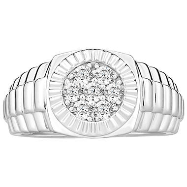 0.50 CT. TW. Men's Diamond Wedding Band in 14K White Gold