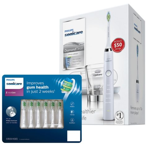 Philips Sonicare DiamondClean Electric Toothbrush and Brush Head Bundle, White