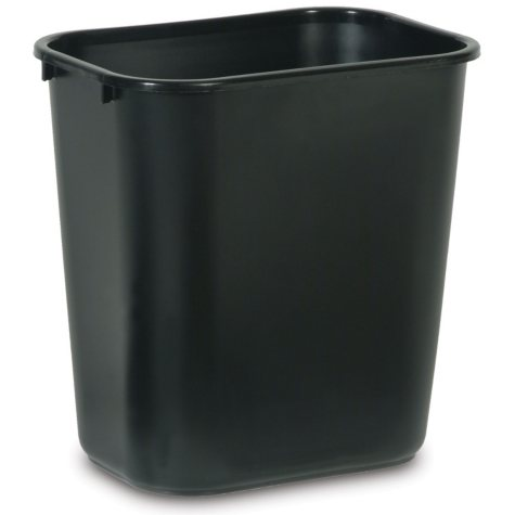 Rubbermaid Wastebasket Medium, 7 Gallon, Black, 4 Pack