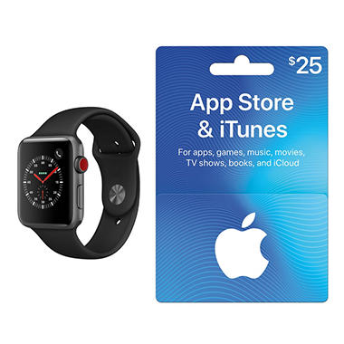 Apple Watch Series 3 42MM GPS + Cellular (Space Gray) with $25 App Store & iTunes Gift Card