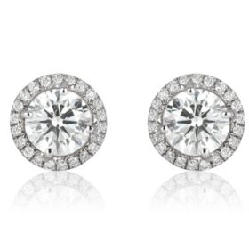 Superior Quality Collection 1.0 CT. T.W. Round Diamond Stud Earrings in 18K White Gold (I, VS2)