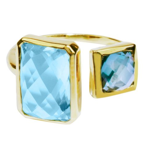 Sky Blue and London Blue Topaz Bezel Set Ring in 14K Yellow Gold