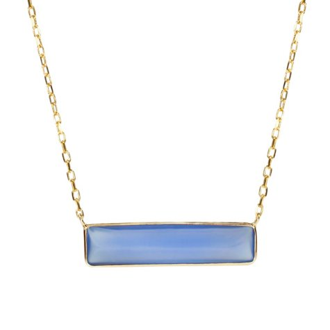 Blue Onyx Pendant in 14K Yellow Gold