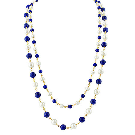 White Pearl and Lapis Necklace in 14K Yellow Gold