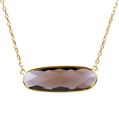 Smokey Quartz Oval Shaped Pendant in 14K Yellow Gold