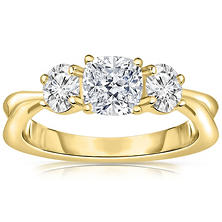 Three Stone Diamond Engagement Ring in 14K Gold (H-I, I1)