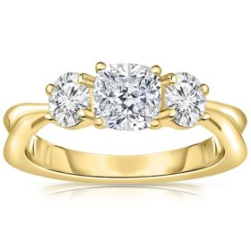 Three Stone Diamond Engagement Ring in 14K Gold (H-I, I1)