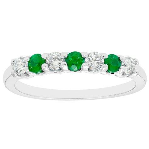 Emerald & 0.14 CT. T.W. Diamond Band in 14K White Gold